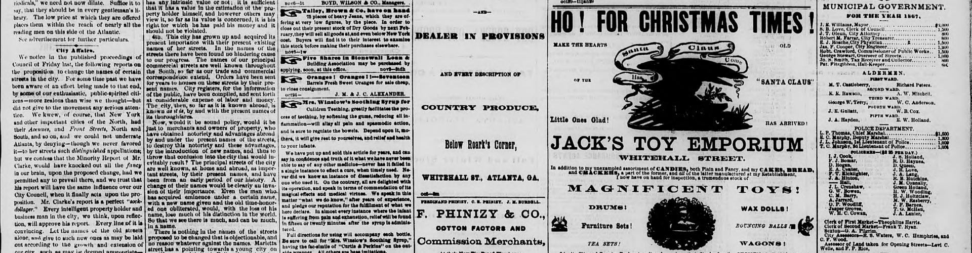 Street Names - The Daily Intelligencer, 6 November 1867, page 3