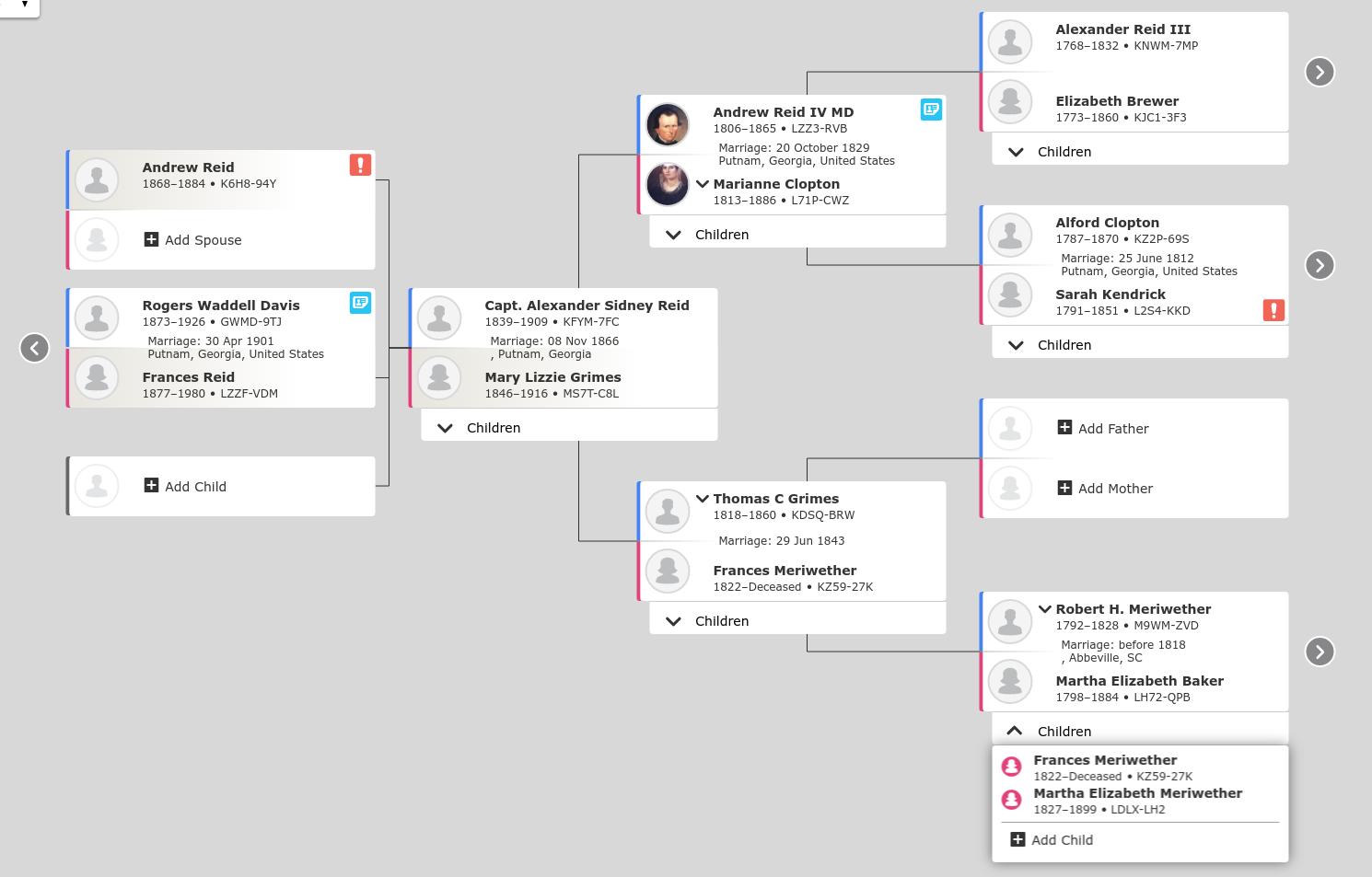 Family tree of Frances (Reid) Davis ancestors