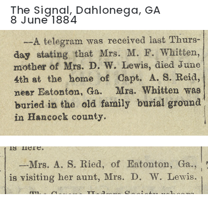 article from the 8 June 1884 Dahlonega Signal newspaper