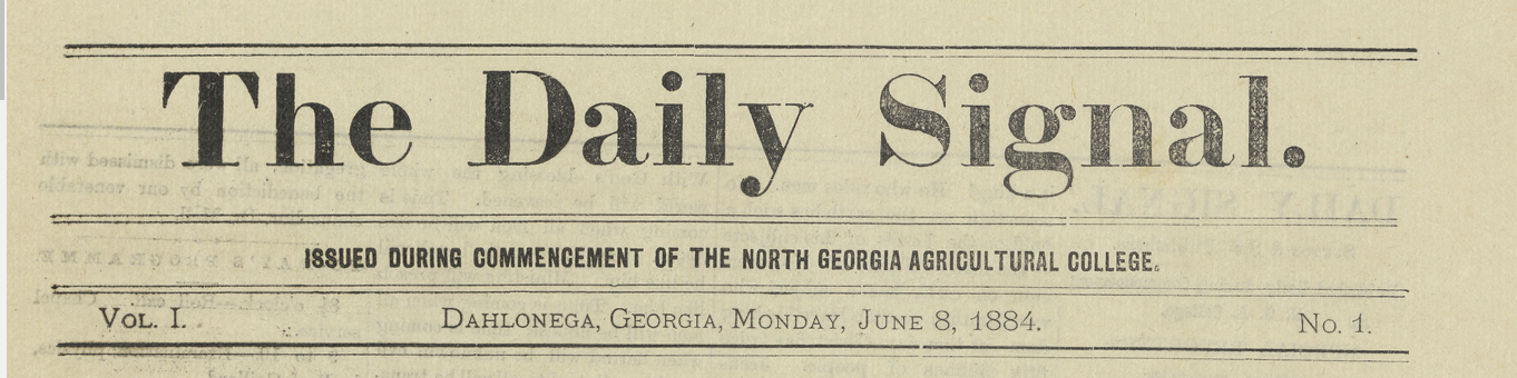 The Daily Signal 8 June 1884 Vol 1 No 1 page 1 not in archive, so faked nameplate